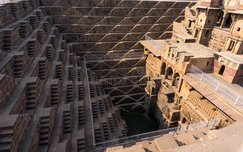Chand Baori - speed the well, the construction of ancient architecture. Near the Church in the town Abhaneri, Jaipur, Rajasthan and it is one of the deepest royalty free stock images