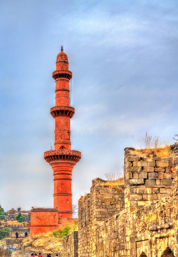 Chand Minar, ένας μιναρές στο οχυρό Daulatabad Maharashtra, Ινδία στοκ εικόνες