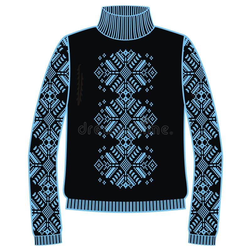 Chandail chaud d'hiver fait main, svitshot, pullover pour la couleur de knit, noire et bleue Conception - modèle de jacquard de f illustration stock