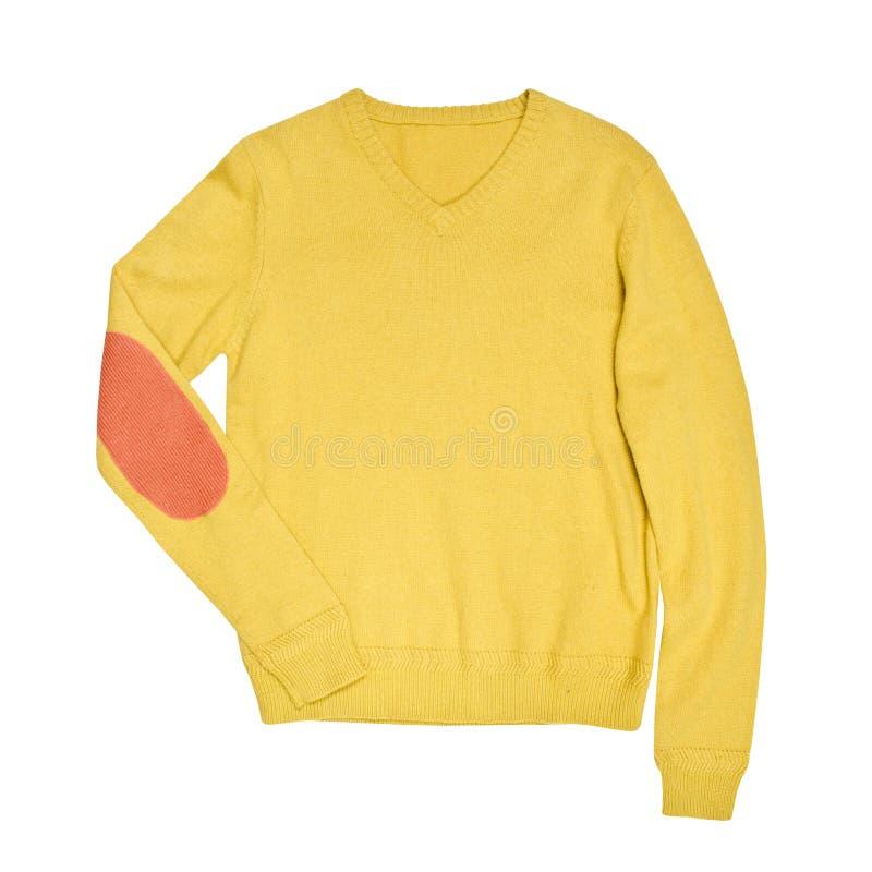 Chandail jaune d'isolement sur un fond blanc photographie stock libre de droits