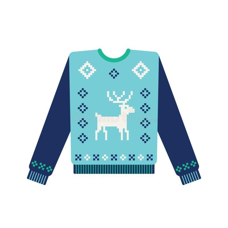 Chandail laid de Noël avec les cerfs communs tricotés illustration libre de droits