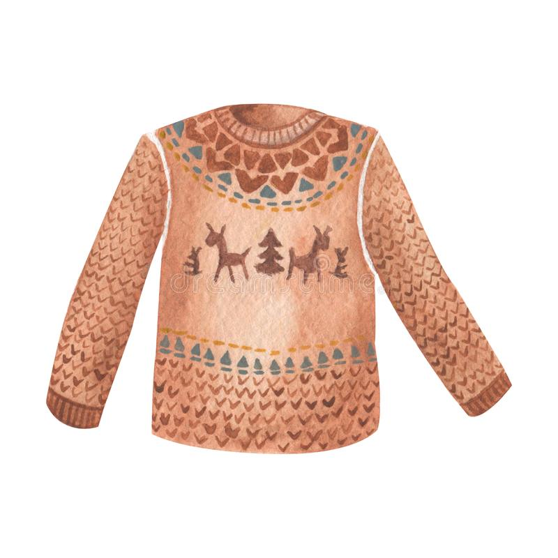 Chandail tricoté chaud et confortable avec le modèle scandinave de cerfs communs avec des flocons de neige de la géométrie Illust illustration libre de droits