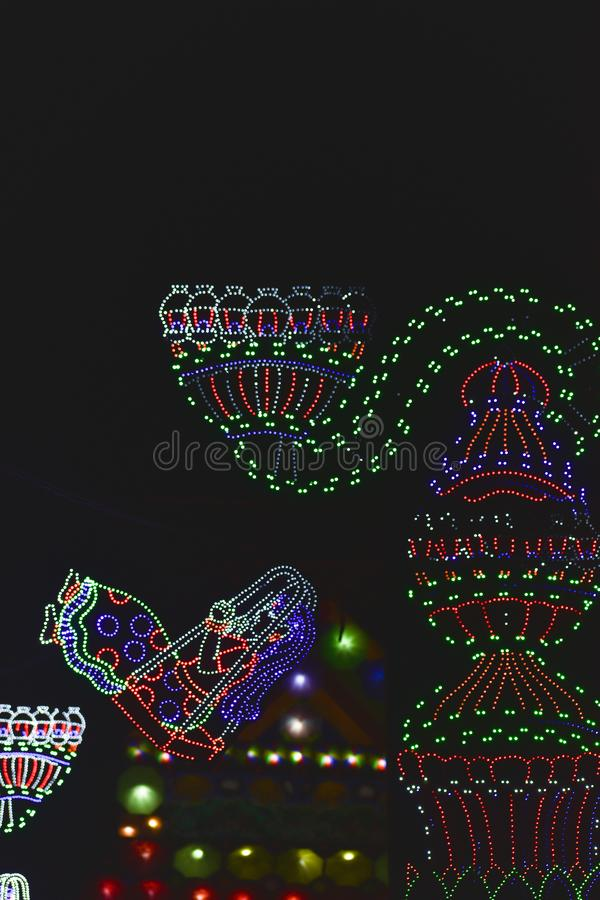 Chandannagar, West Bengal, India November 2018 - Spectacular colourful lighting decoration with LED bulbs during Jagadhatri Puja. Celebrations. The lighting has stock photography