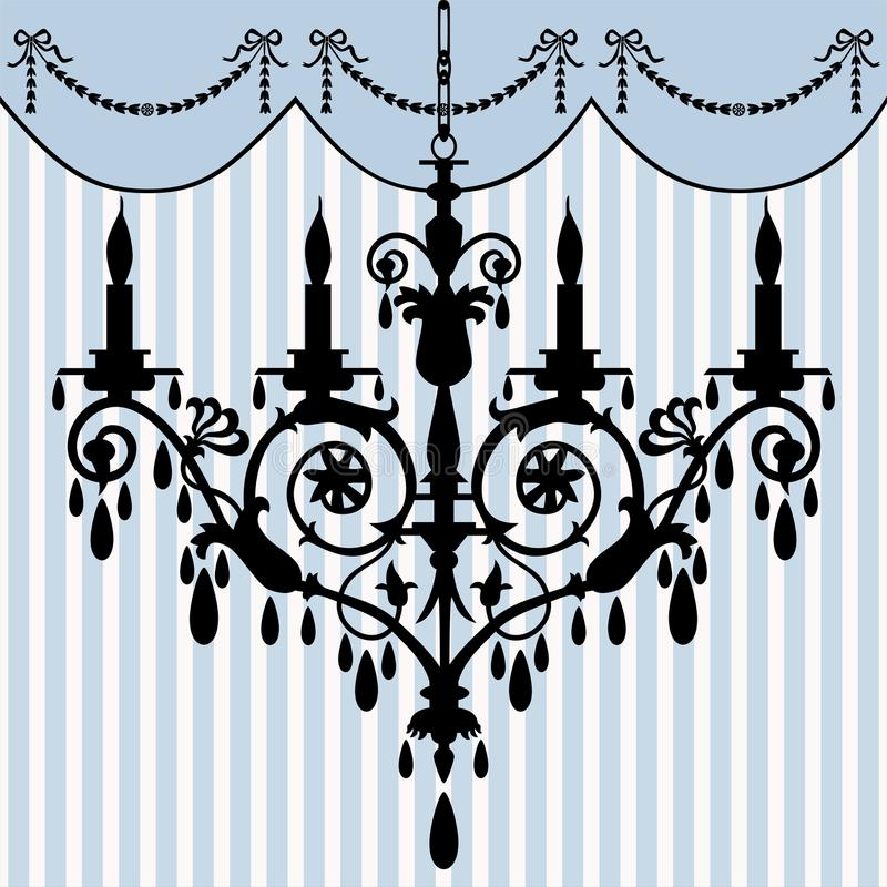 Chandelier. Silhouette at antique background, full scalable vector graphic included Eps v8 and 300 dpi JPG vector illustration