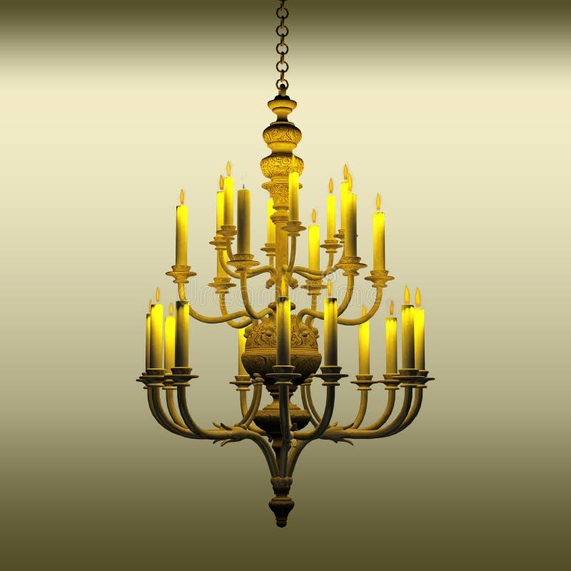 Chandelier. 3d render of a candle lit chandelier stock illustration