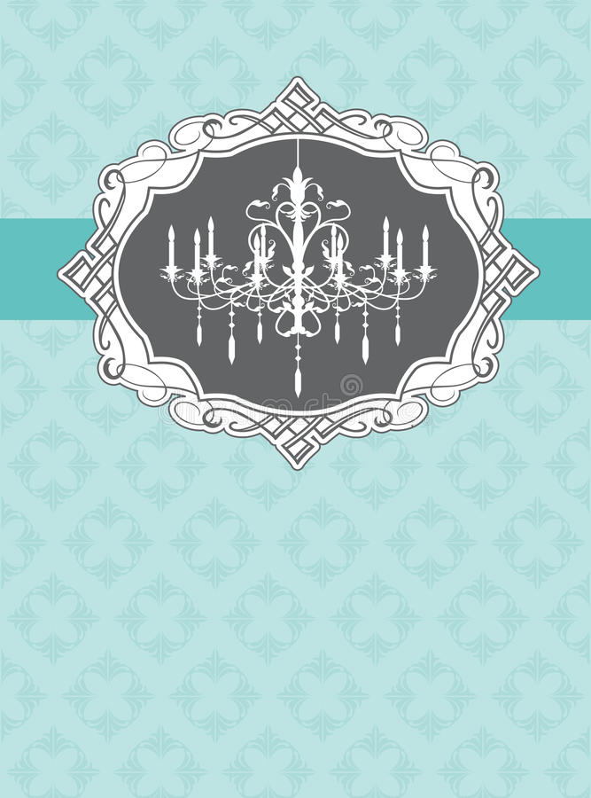 Chandelier. Cover template with luxury chandelier design stock illustration