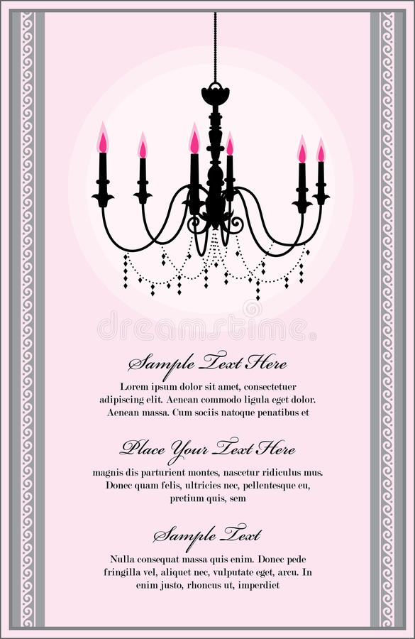 Chandelier. Invitation card template with luxury chandelier stock illustration