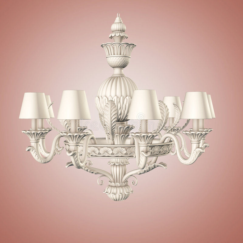 Chandelier. White color chandelier on gradient background royalty free illustration