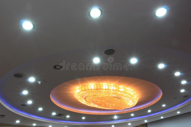 Chandelier at ceiling stock photo
