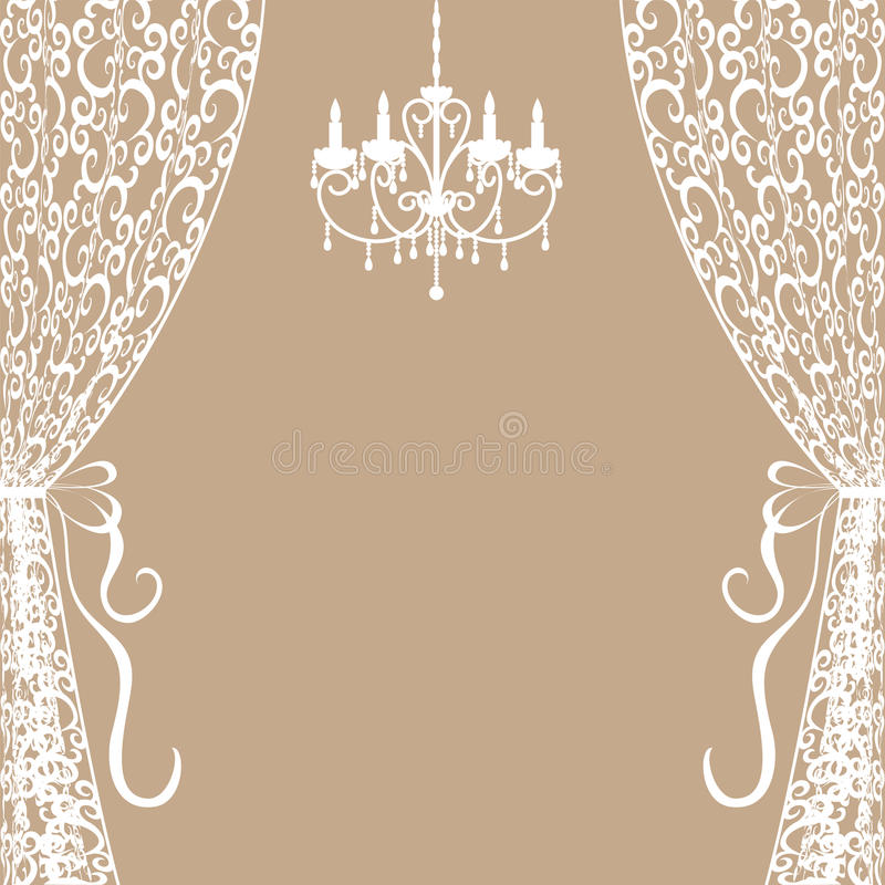 Chandelier and curtains. Vintage card with chandelier and curtains vector illustration