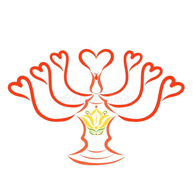 Chandelier décoratif avec les coeurs et le lis, pour sept bougies illustration libre de droits