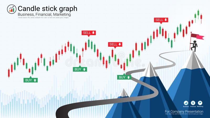 Chandelier d'affaires et diagramme financier de graphique illustration stock