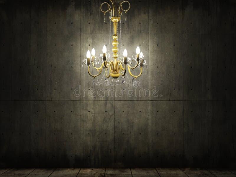Download Chandelier In Dark Grungy Concrete Room Stock Image - Image of dark, chair: 9107881