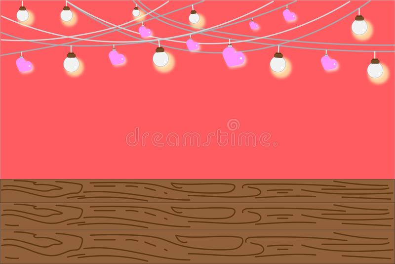 Chandelier Decorated The Brightly And Pink Heart On A Sweet Background Empty Below With