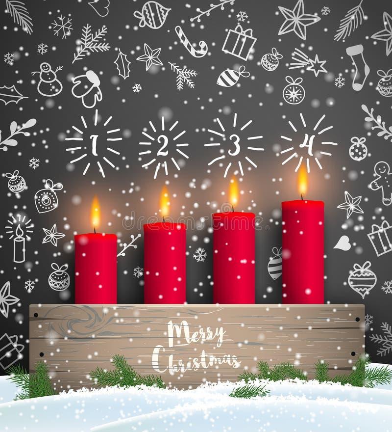 Chandelier en bois d'avènement rustique de Noël avec des bougies illustration stock
