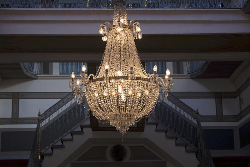 Chandelier in a foyer royalty free stock photos