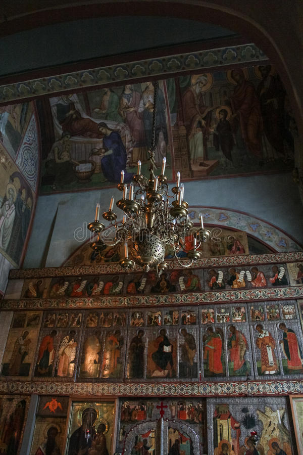 Chandelier in front of the iconostasis. stock photo