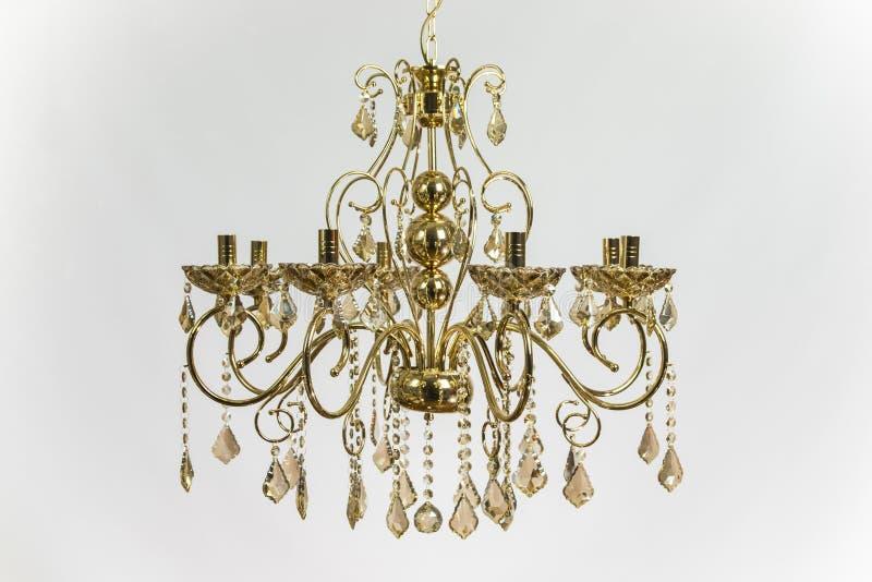 Golden Chandelier Gold Crystal stock image