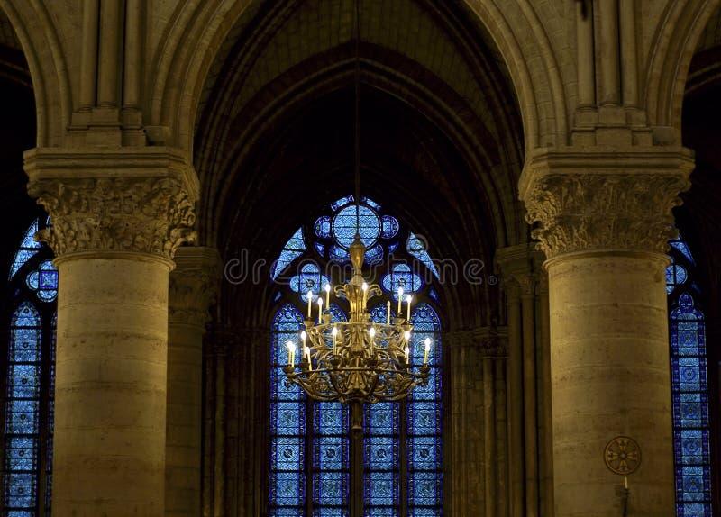 Chandelier Inside Notre Dame, Paris Stock Photo