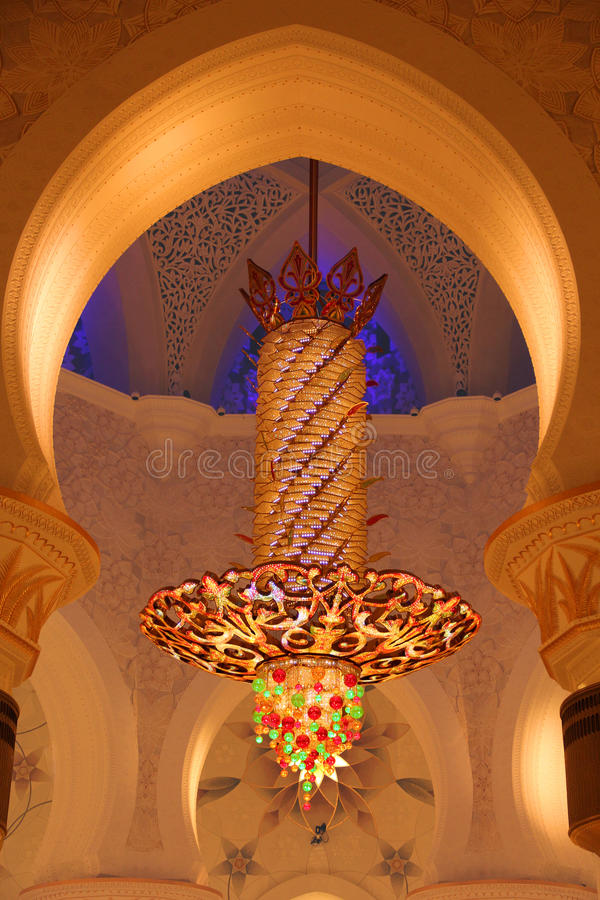 Chandelier inside of Sheikh Zayed Grand Mosque royalty free stock image