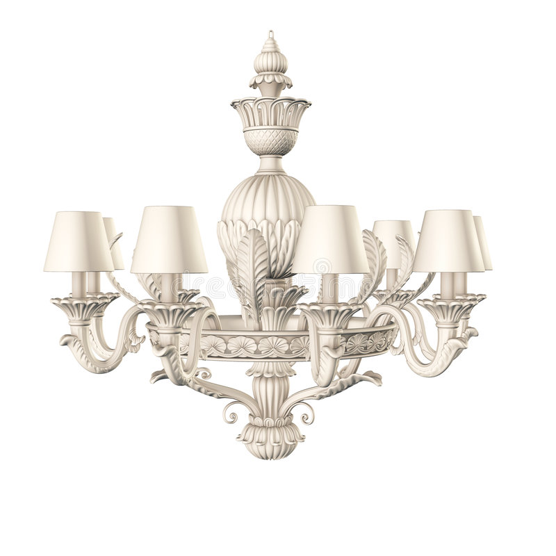 Chandelier isolated. Victorian white chandelier isolated on white stock illustration