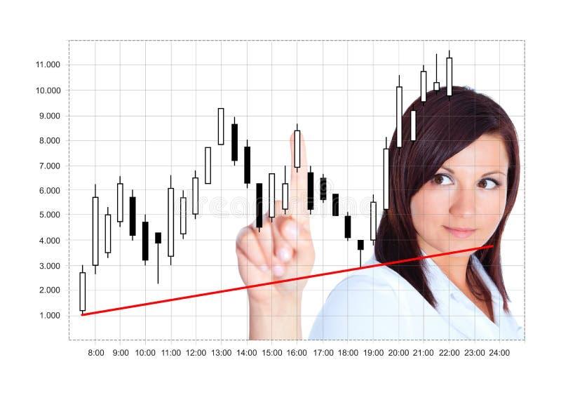 Chandelier japonais analysé par la jeune femme au-dessus du blanc photo stock