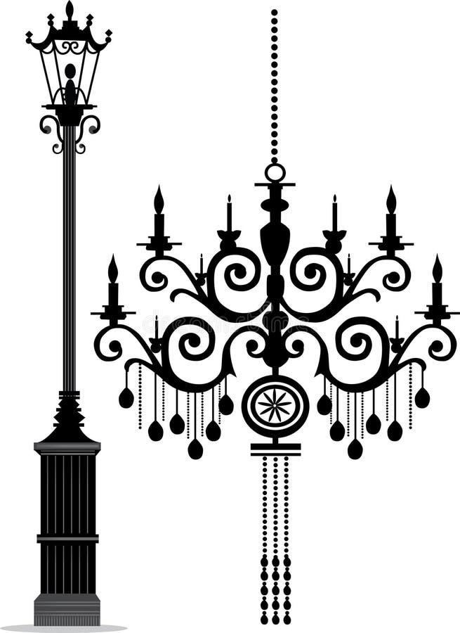 Chandelier & Lamp Post. Stock Vector Illustration: black chandelier - vector stock illustration
