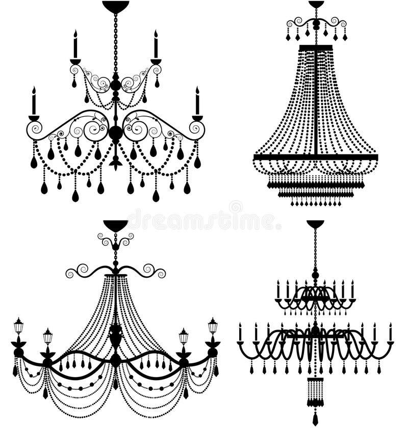 Chandelier lamp. Set of chandelier lamp vector illustration