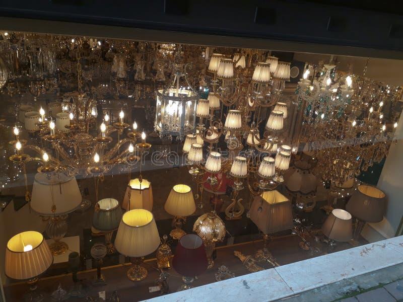 Chandelier & Lampshade Shop in Beyoglu Istanbul. Sale more chandelier & lampshade shop & Big Store in Beyoglu Istanbul Turkey stock image