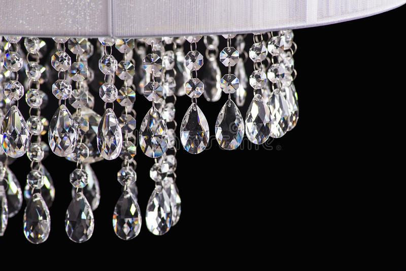 Chandelier light in interior, Chrystal chandelier close-up.crystal part from chandelier,chandelier, lighting, equipment, luxury,. Chandelier light in interior stock photo