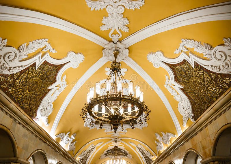 Chandelier in Moscow metro stock photography