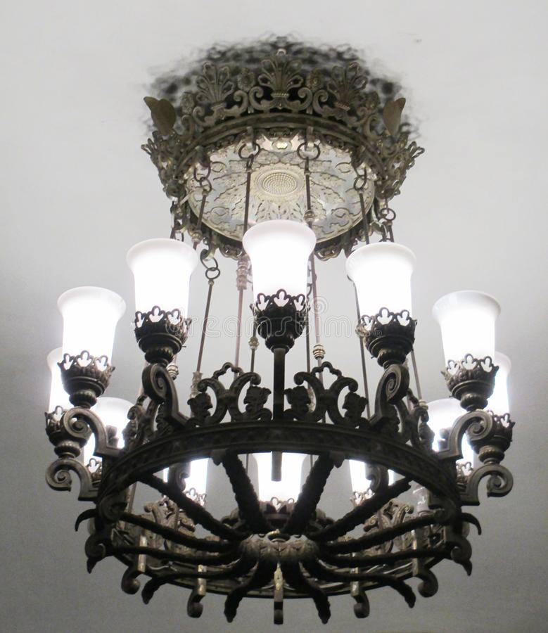 The chandelier in the Moscow metro stock photography