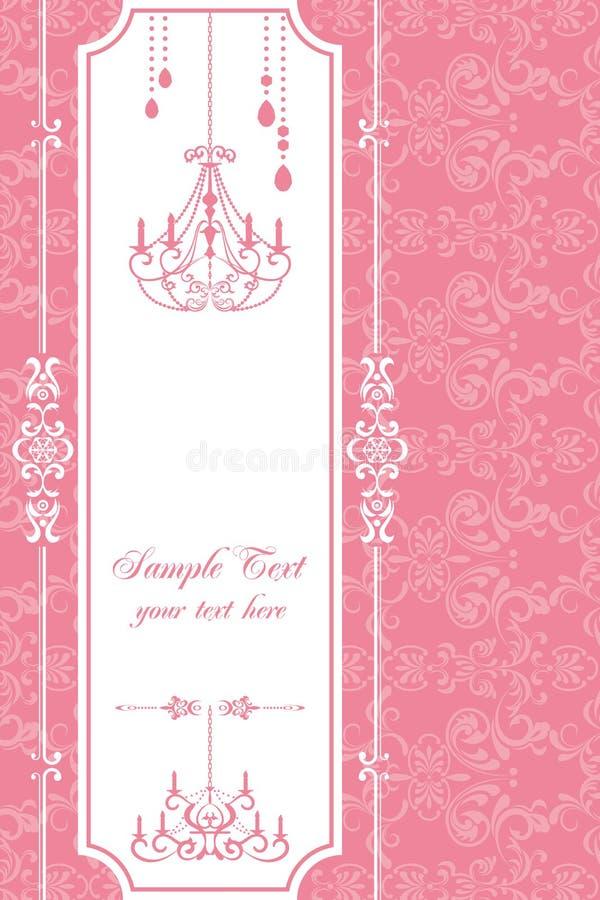 Chandelier pink frame. Illustration royalty free illustration