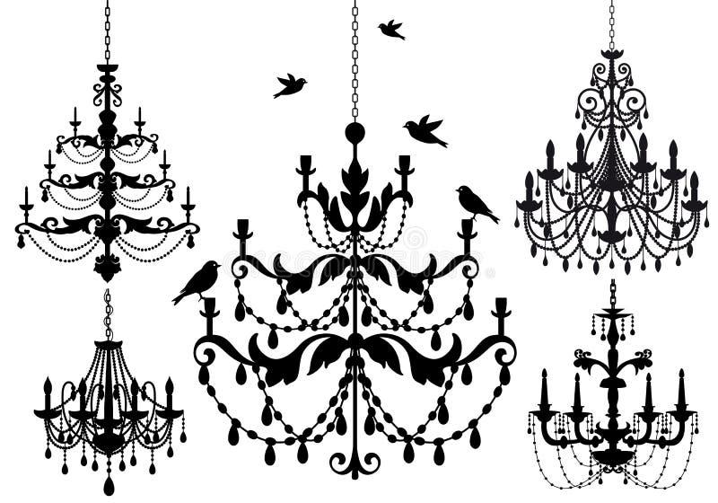 Chandelier set, vector. Antique chandelier set, vector background illustration stock illustration