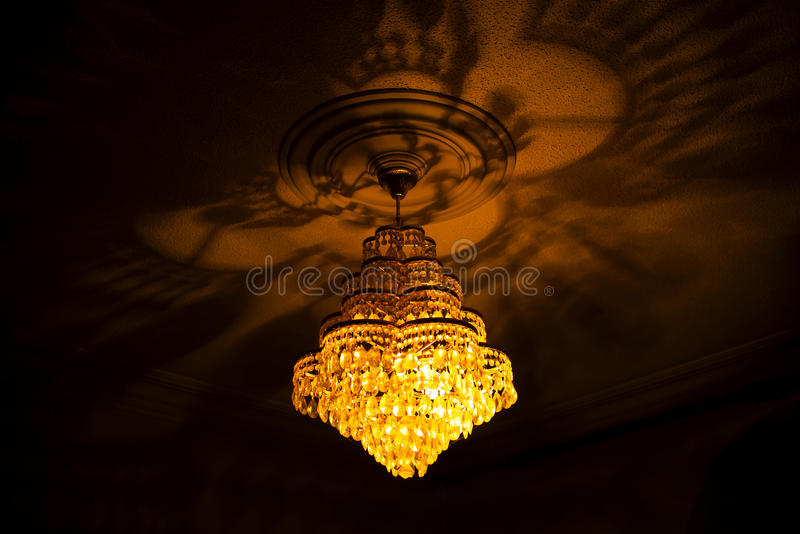 Chandelier. Shot of a bright crystal chandelier stock photography