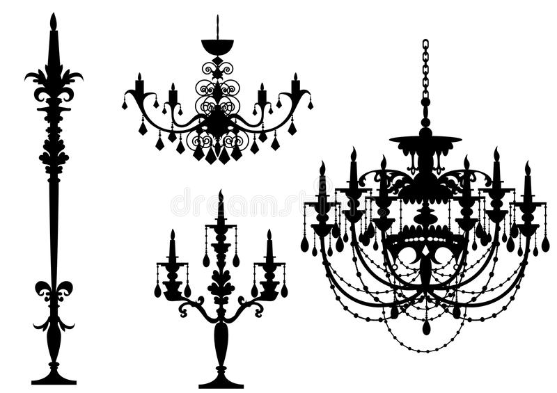 Chandelier-sihouette. A set of Chandelier-sihouette in Black colour stock illustration