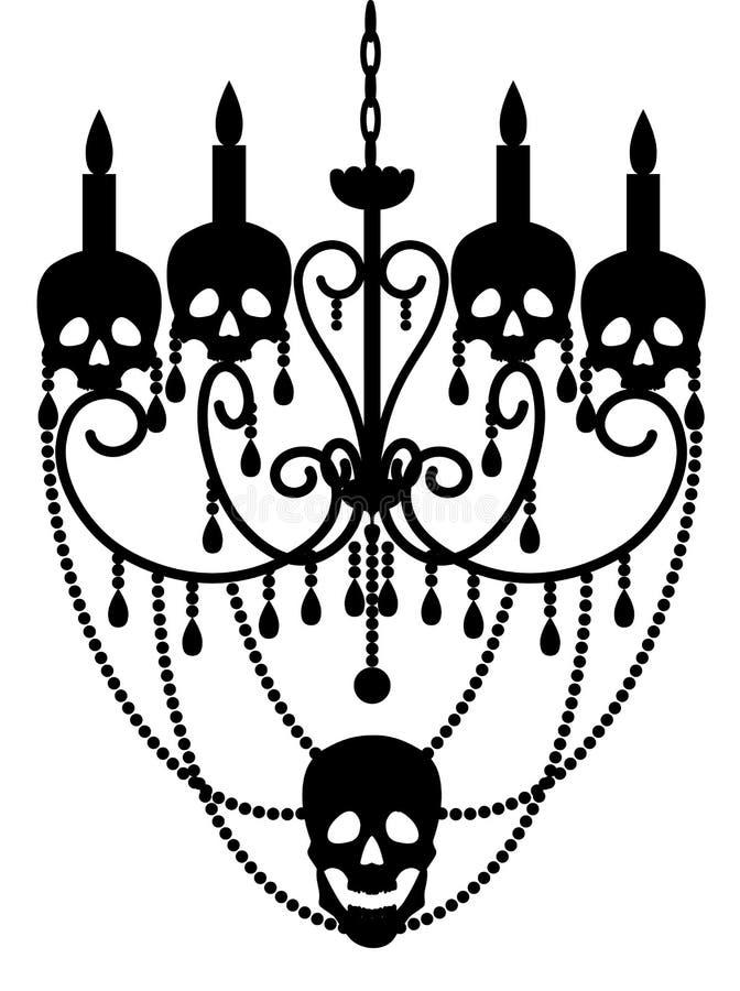 Chandelier with skulls. On white for Halloween design stock illustration