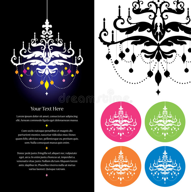 Chandelier stationery template. Stationery template featuring chandeliers of multiple colors, with space indicated for text vector illustration