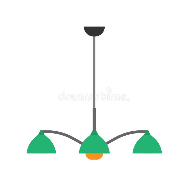 Chandelier style decorative shiny luxury lamp closeup night vector icon. Interior equipment flat floor furniture luster.  royalty free illustration