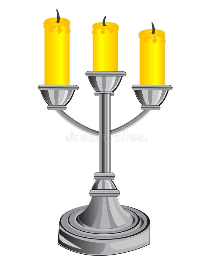 Chandelier sur trois bougies illustration de vecteur