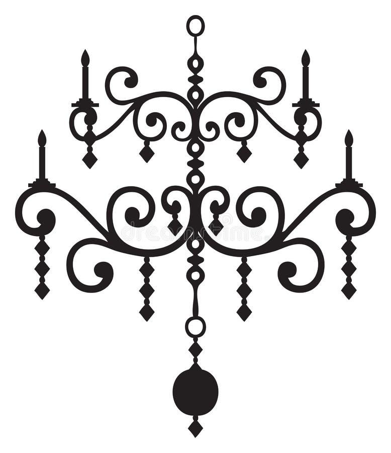 Chandelier vector image black and white. Black and white candlelabra chandelier vector graphic royalty free illustration