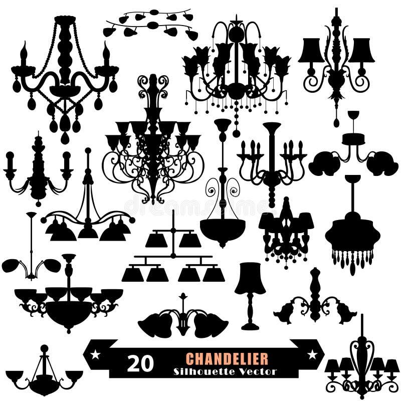 Chandelier Vector Set. Chandelier vector drawing set design royalty free illustration