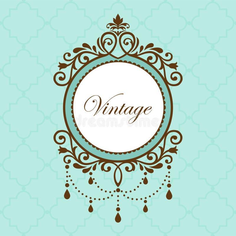 Chandelier vintage frame. On green pattern stock illustration