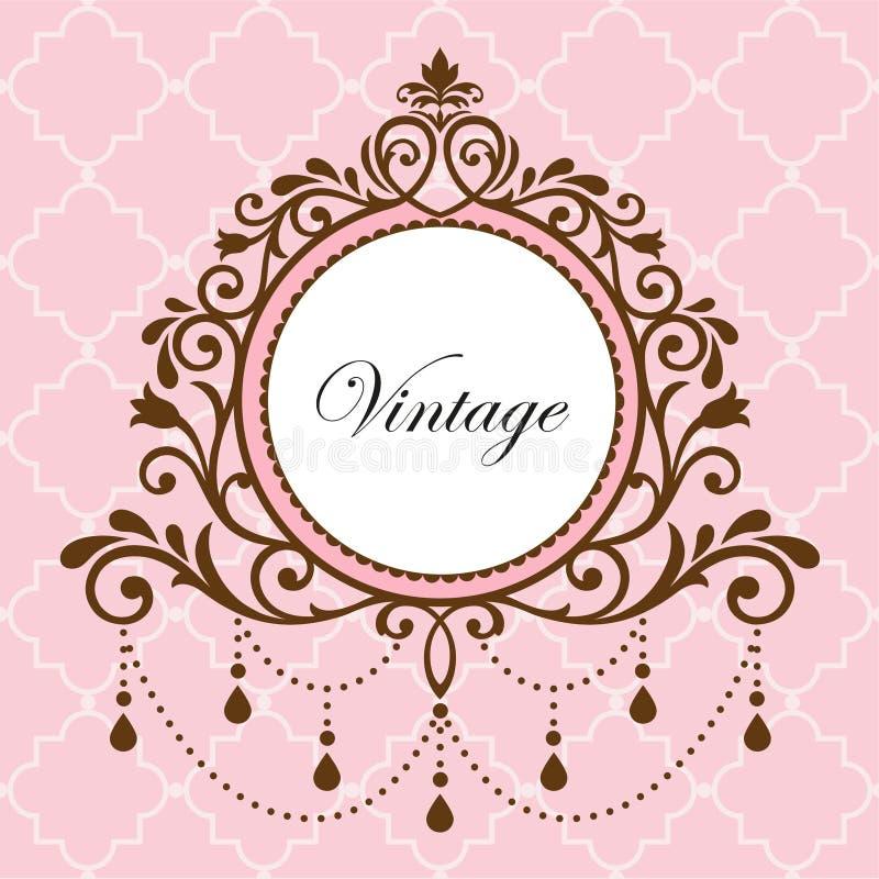 Chandelier vintage frame. On pink background stock illustration