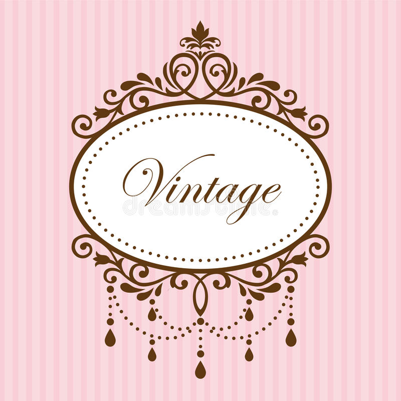 Chandelier vintage frame. On pink pattern vector illustration