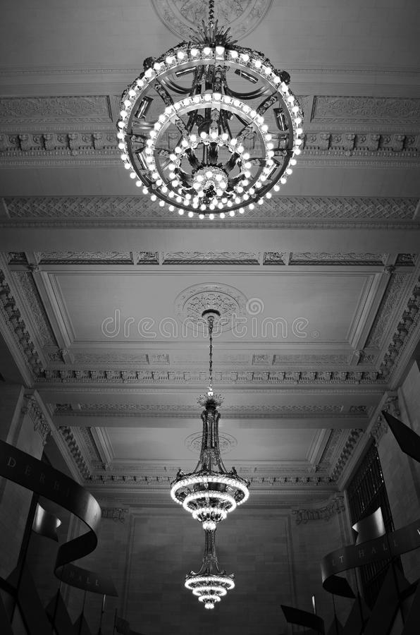 Chandeliers in Grand Central Station, New York stock images