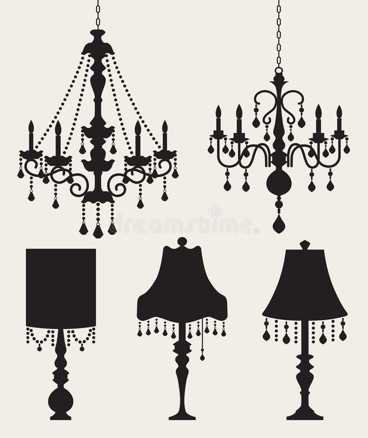 Chandeliers and Lamps. Illustration of chandeliers and table lamps