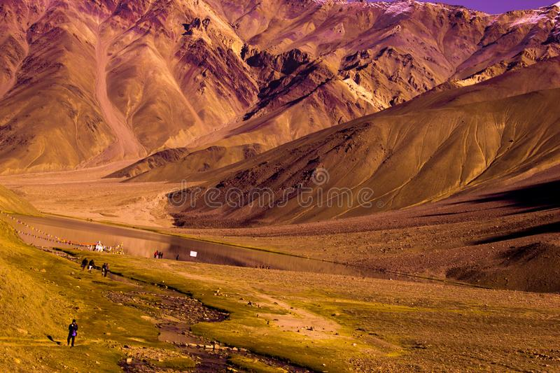 Chandertaal lake. Chandra Taal, or Chandra Tal is situated in the Spiti part of the Lahul and Spiti district of Himachal Pradesh. The name of the lake originates royalty free stock image
