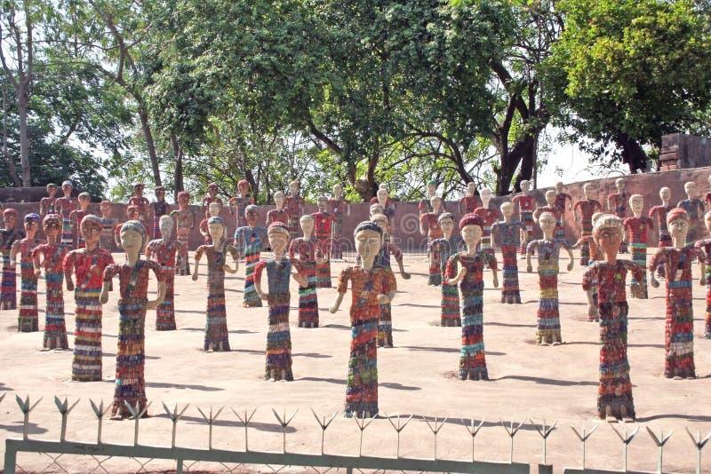 chandigarh小雕象庭院印度岩石 免版税库存照片