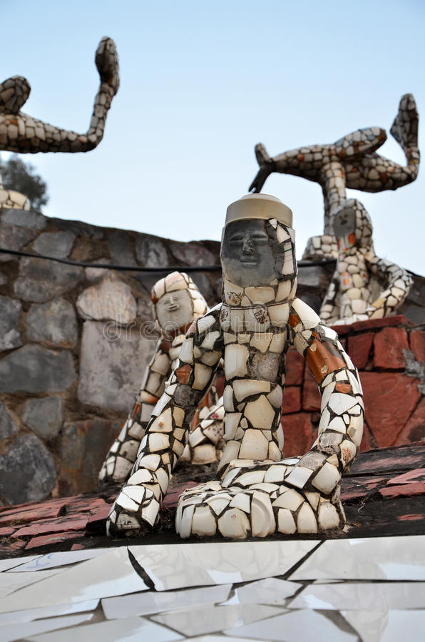 Chandigarh, India - January 4, 2015: Rock statues at the rock garden in Chandigarh, India. Chandigarh, India - January 4, 2015: Rock statues at the rock garden royalty free stock image